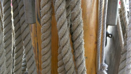 Huge set of ropes used on the big ship on the harbour GH4 4K UHD