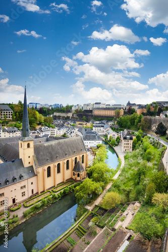 Poster City view of Luxembourg with houses on Alzette