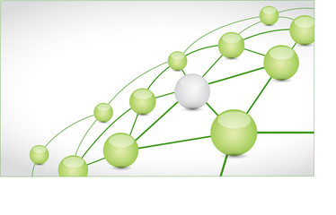green and network connection illustration design