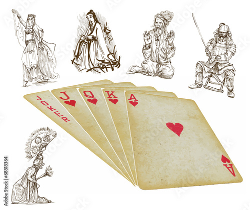 playing cards - straight - vector