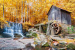 Fall or Autumn image of historic mill and waterfall in Marietta, - 68819136