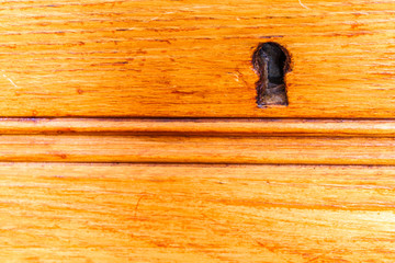 keyhole of wooden cabinet