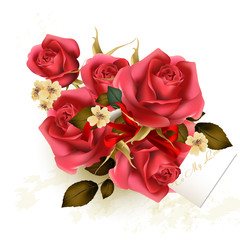 Valentine's Day background with luxury bouquet of  roses