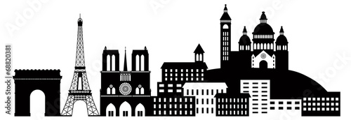 Paris City Skyline Silhouette Black and White Illustration - 68820381