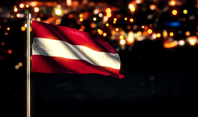 Austria National Flag City Light Night Bokeh Background 3D