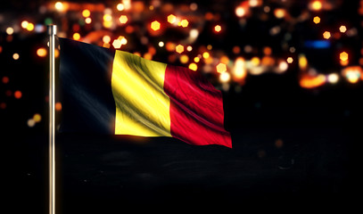 Belgium National Flag City Light Night Bokeh Background 3D