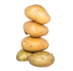 Isolated stack of potatoes on white