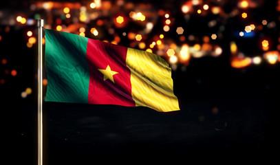 Cameroon National Flag City Light Night Bokeh Background 3D
