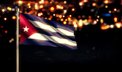 Cuba National Flag City Light Night Bokeh Background 3D