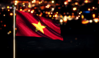 Vietnam National Flag City Light Night Bokeh Background 3D