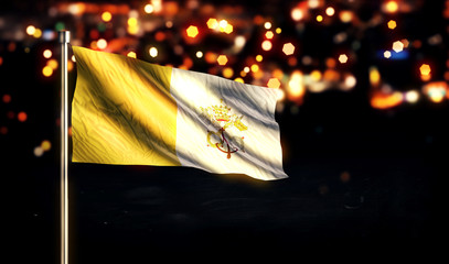 Vatican City National Flag City Light Night Bokeh Background 3D