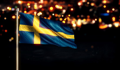 Sweden National Flag City Light Night Bokeh Background 3D
