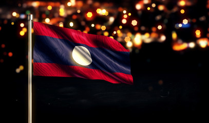 Laos National Flag City Light Night Bokeh Background 3D