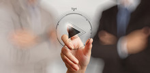 """Постер, картина, фотообои """"hand press play button sign to start or initiate projects as con"""""""