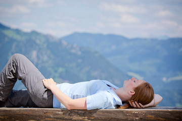 Rest from Climbing Up a Mountain