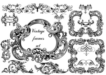 Vector set of vintage frames for design