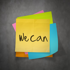 """""""we can"""" text on sticky note paper on wall texture"""
