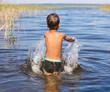 European baby sprinkles in the lake