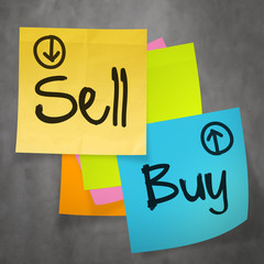 """sell buy"" text on sticky note paper on wall texture as concept"