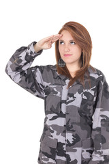 Pretty young girl in military uniform