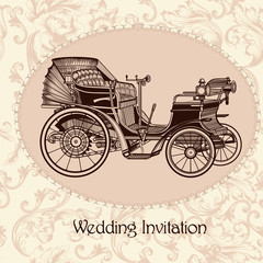 Wedding invitation with vintage seamless vector pattern
