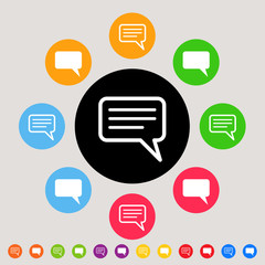 Speech or comment bubble in colorful set