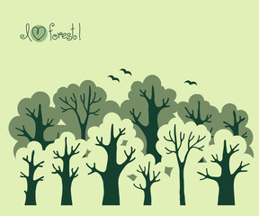 Abstract banner of green deciduous  forest.