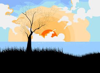 Sunset with landscape cartoon scene
