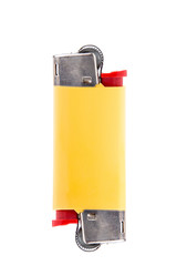 Yellow lighter with two ends isolated on white background