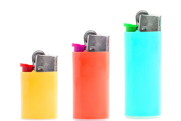 Three lighters isolated on white background