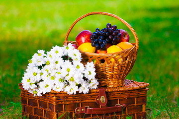 fruit basket and flowers