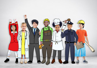 Diverse Multiethnic Children in Different Occupations