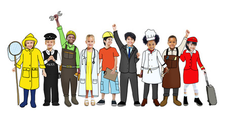 Group of Children with Various Occupations Concept