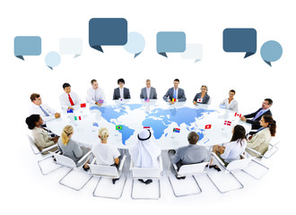 Multiethnic People Meeting and Speech Bubbles