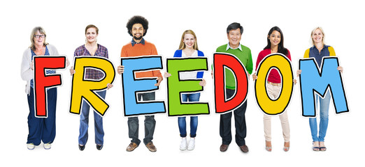 Multiethnic Group of People Holding Text Freedom