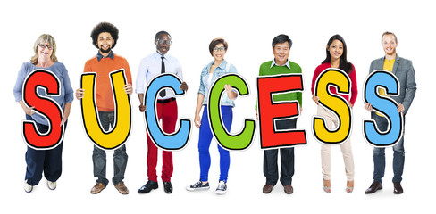 Multiethnic Group of People Holding Letter Success