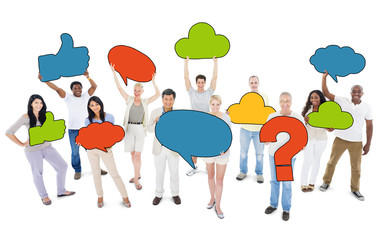 People Holding Speech Bubbles and Symbols