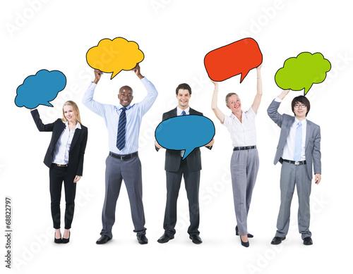 Leinwandbild Motiv Business People Holding Colorful Speech Bubbles