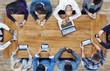 Leinwanddruck Bild - Group of Business People Using Digital Devices