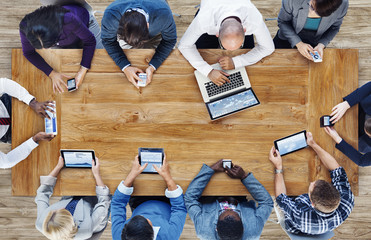 Group of Business People Using Digital Devices