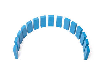Semicircle out of blue building blocks