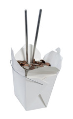 Take Out Box Full of Change with Chop Sticks