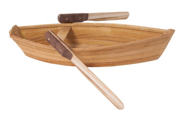 Wooden Row Boat with Oars
