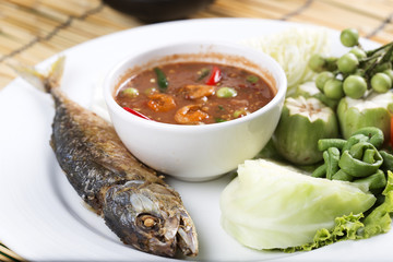Chili paste with fried mackerel