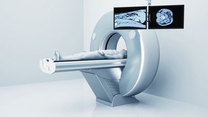 Man getting tomography Scan in hospital. 3d video