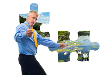 Man with jigsaw puzzle