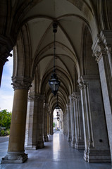 A view from Rathaus town hall arches in Vienna