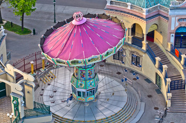 Carousel at the entrance of Prater amusement park in Vienna