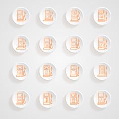 Gas pump Icons button shadows  vector set
