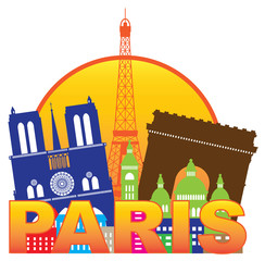 Paris City Skyline Silhouette Circle Color Vector Illustration